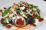 Organic Arugula Spring Mix, Carrots, Apples, Pecans, Fresh and Dried Figs, with Creamy Goat Cheese Dressing
